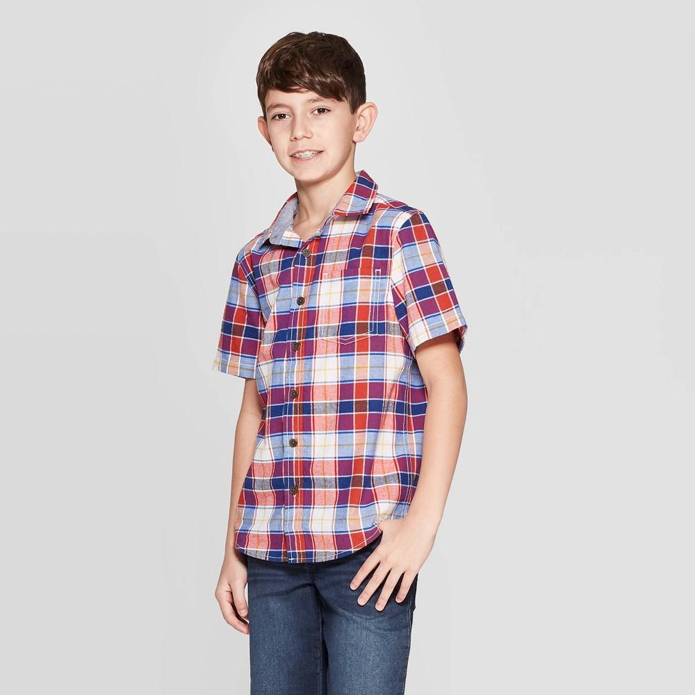 e33d846eb Boys Stripe Short Sleeve Button Down Shirt Cat Jack Blue L