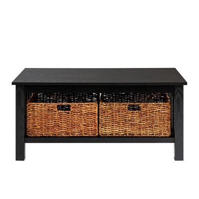 40  Wood Storage Coffee Table with Totes - Black - Saracina Home