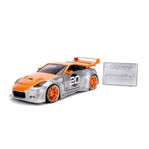 Jada Toys 20th Anniversary Option D 2003 Nissan 350Z Die-Cast Vehicle with Mosiac Die-Cast Tile 1:24 Scale Brush Raw Metal - image 1 of 4