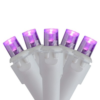 Northlight 50 Purple LED Wide Angle Christmas Lights - 16.25 ft White Wire