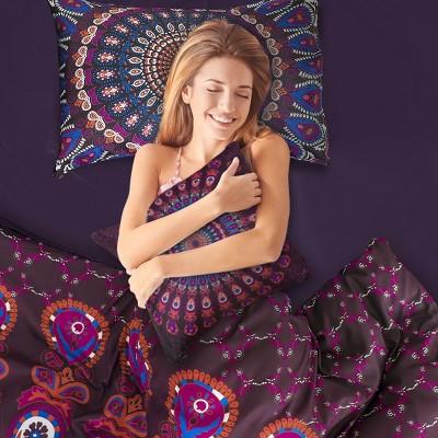 4 Pcs Polyester Bohemian Bedding Sets Twin Purple - PiccoCasa