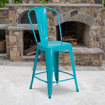 """Emma and Oliver Commercial Grade 24""""H Metal Indoor-Outdoor Counter Stool w/ Drain Holes and Back"""