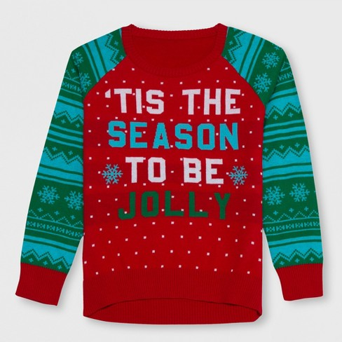 a3e6e416722 Well Worn Girls   Tis The Season To Be Jolly  Sweater - Red Green L ...