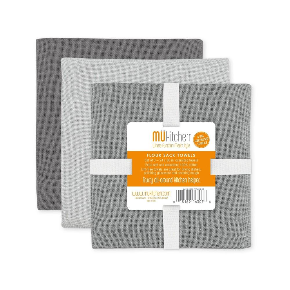 Image of 3pk Flour Sack Kitchen Towel Twilight Gray - MU Kitchen