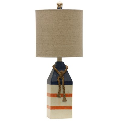 Nautical Table Lamp with White Hardback Fabric Shade and Rope (Lamp Only)- StyleCraft
