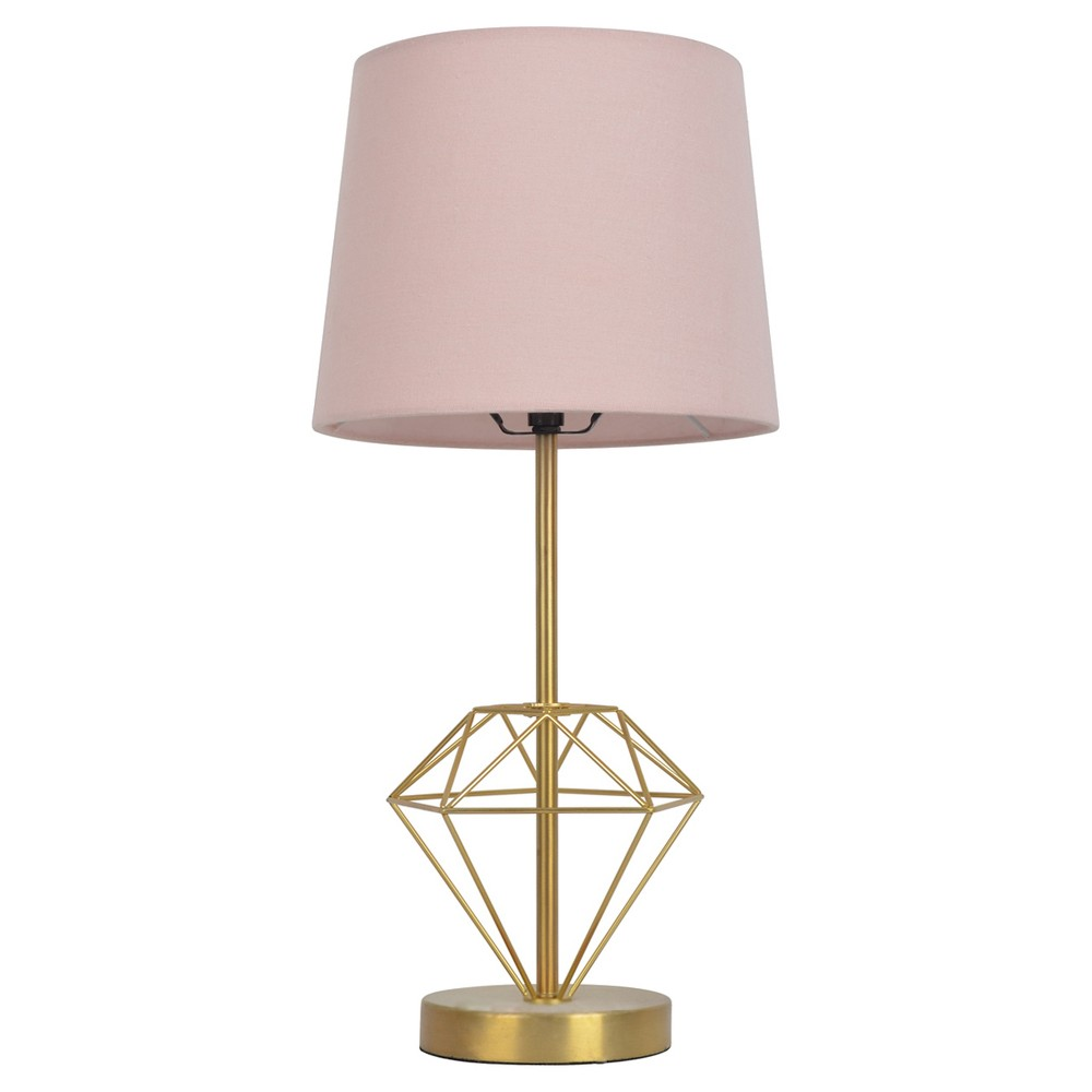 Wire Diamond Table Lamp Gold - Pillowfort, Pink Gold