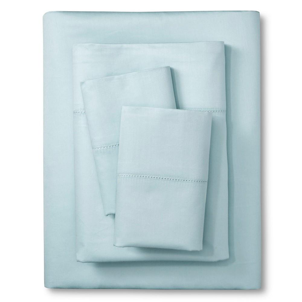 Image of Elite Home Hemstitch Solid 400TC Sheet Set - Lite Blue (Twin)