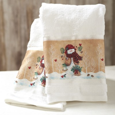 Lakeside Decorative Bathroom Hand Towels – Country Christmas Snowmen