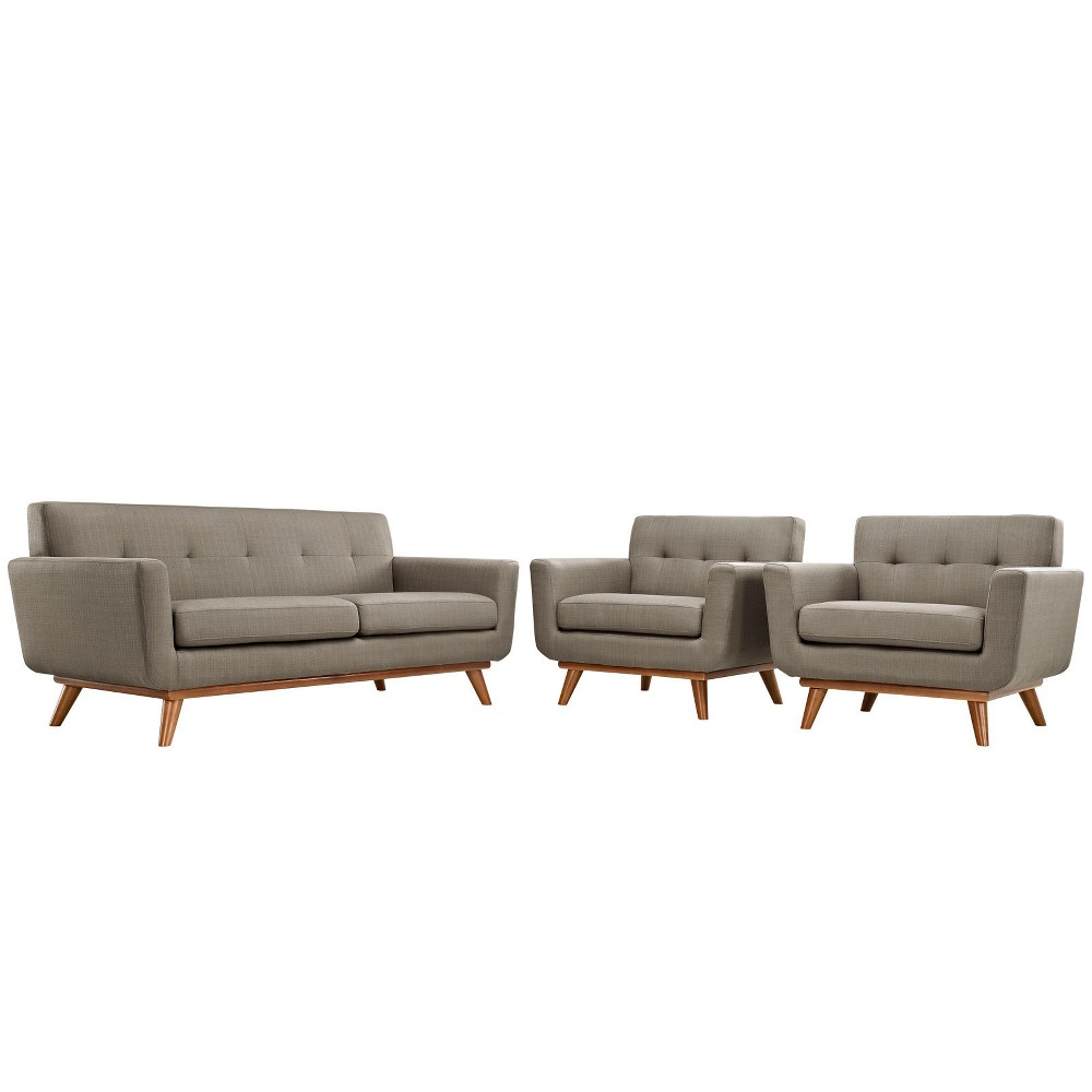 Engage Armchairs and Loveseat Set of 3 Granite - Modway