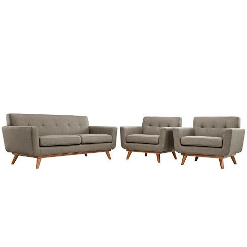 Engage Armchairs and Loveseat Set of 3 Granite - Modway - image 1 of 6