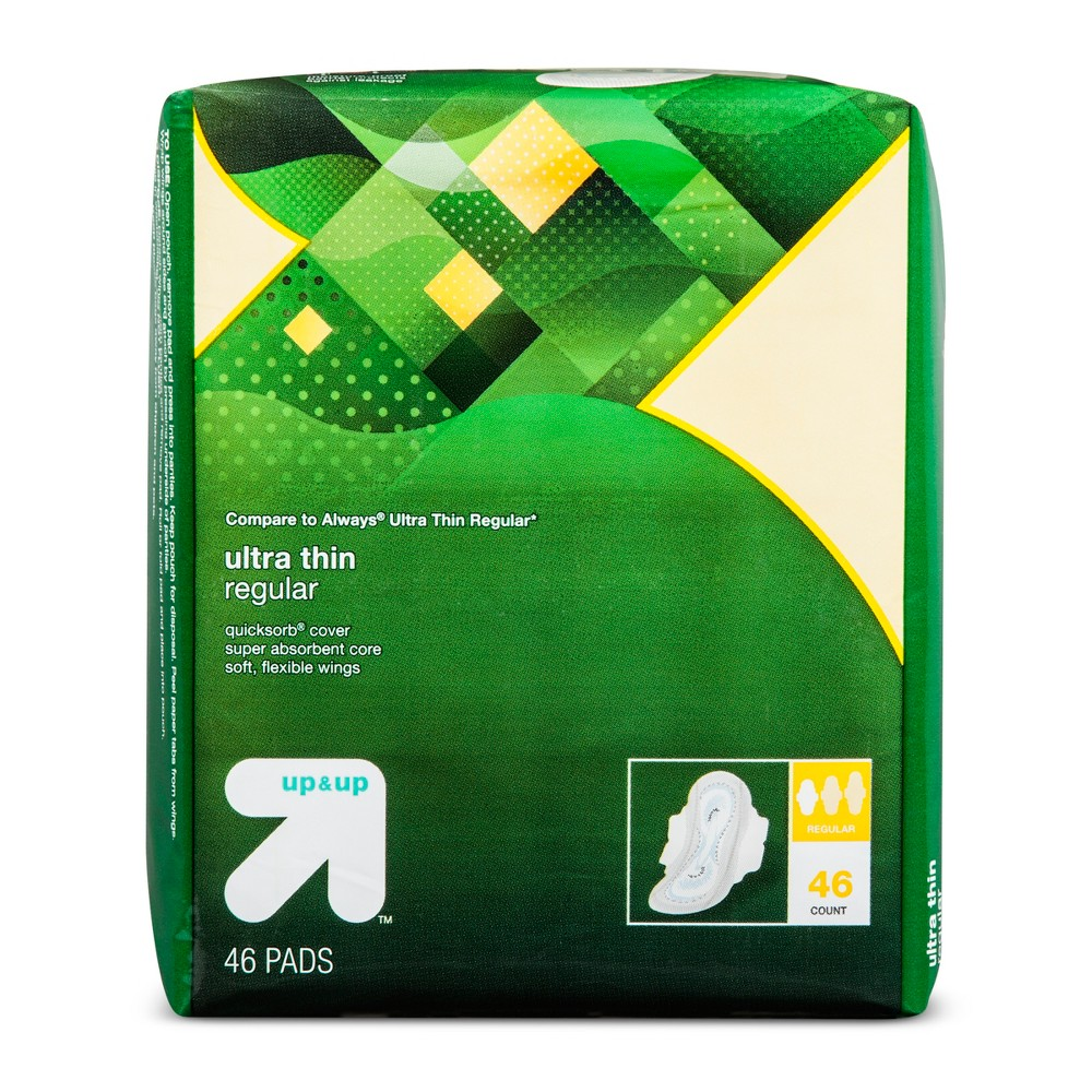 Ultra Thin Regular Pads with Wings - 46ct - Up&Up (Compare to Always Ultra Thin Regular)
