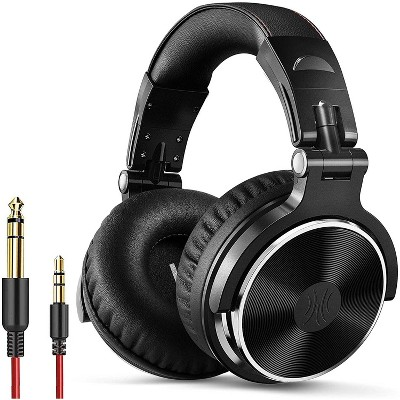 OneOdio PRO 10 Over Ear Wired Headphones Mixing DJ Stereo & Studio Monitor 50mm Neodymium Drivers and 1/4 to 3.5mm Audio Jack for AMP Computer Recording Phone Piano Guitar Laptop - Black