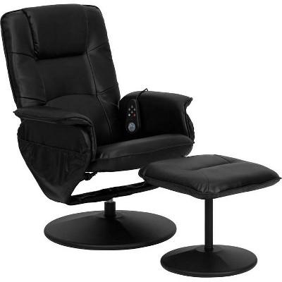 2pc Massaging Multi Position Recliner Set - Black - Riverstone Furniture Collection