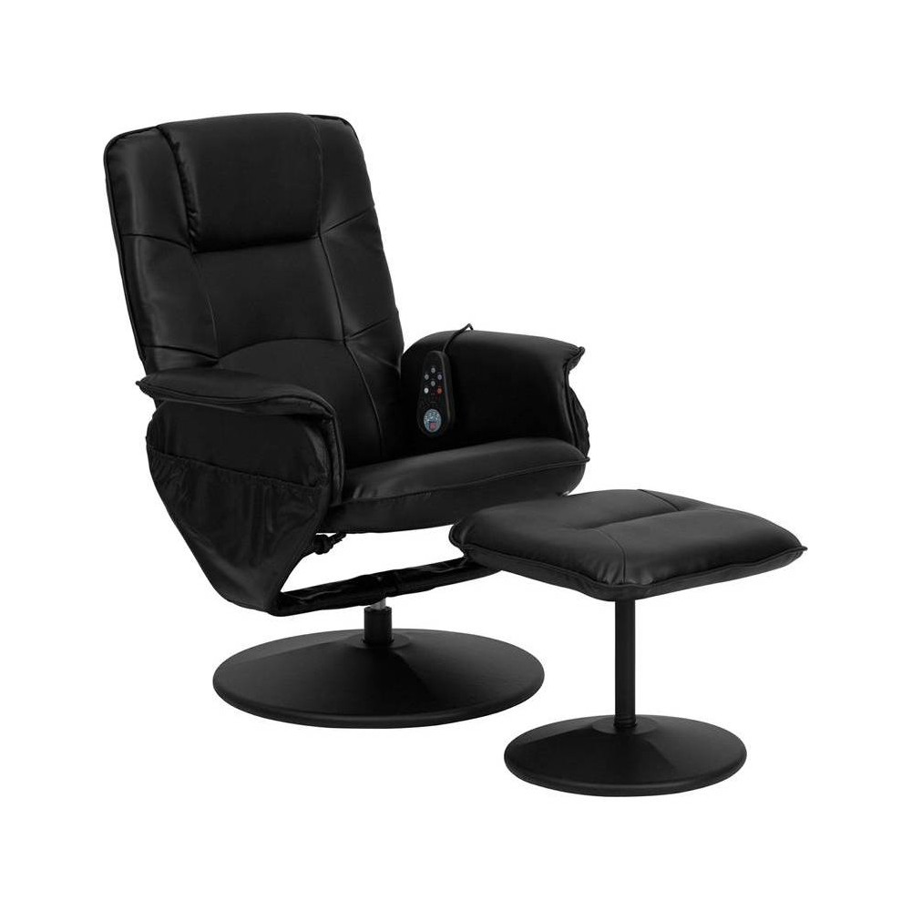 Image of 2pc Massaging Multi Position Recliner Set - Black - Riverstone Furniture Collection