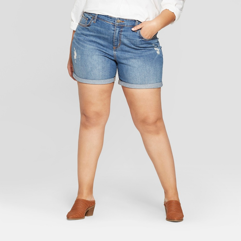 Women's Plus Size Roll Cuff Boyfriend Jean Shorts - Universal Thread Medium Wash 26W, Blue