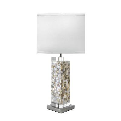 "nuLOOM Houston Nickel Mosaic 29"" Table Lamp Lighting - Satin Nickel & White 29"" H x 13"" W x 13"" D"