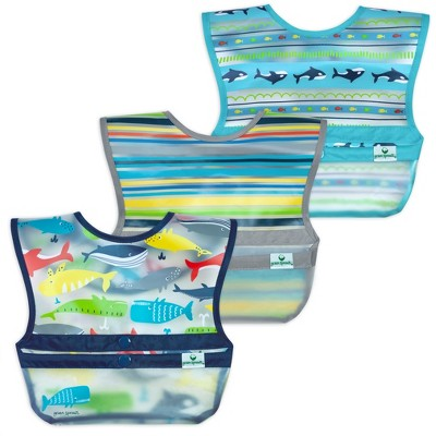 green sprouts Snap & Go Wipe-off Bibs 3pk Navy Whale