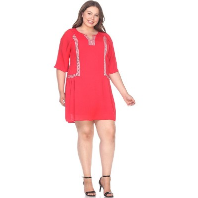 Women's Plus Size Marybeth Embroidered Dress - White Mark