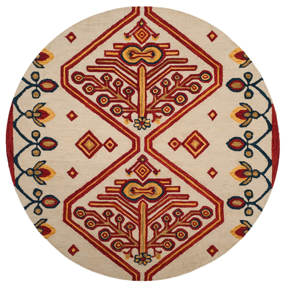 7' Tribal Design Tufted Round Area Rug Ivory - Safavieh, Multicolored