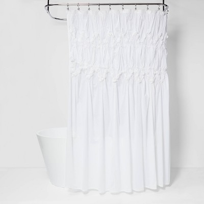 Ruched Shower Curtain White - Opalhouse™