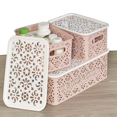 Lakeside Set of 3 Stackable Lace-Design Bins with Lids -