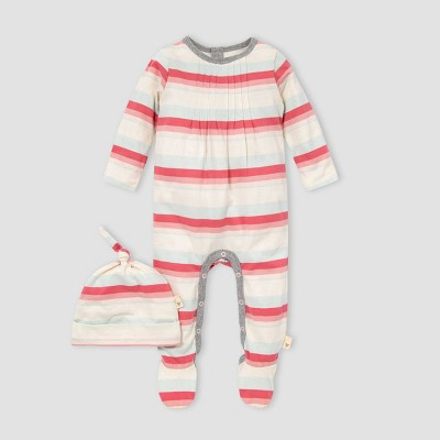Burt's Bees Baby® Baby Girls' Foothills Striped Jumpsuit and Knot Top Hat Set - Red 0-3M