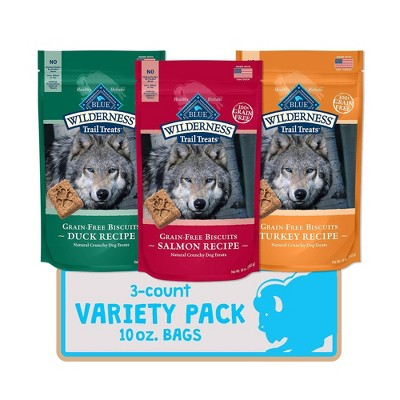 Blue Buffalo Duck,Turkey and Salmon Dog Treat Variety Pack - 10oz