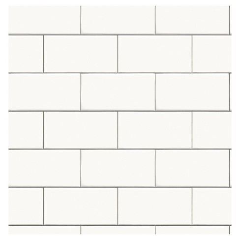 Devine Color Textured Subway Tile L Stick Wallpaper White Target