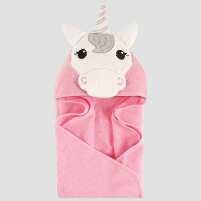 Hudson Baby Girls' Animal Face Hooded Towel, Unicorn - Pink 0-24M
