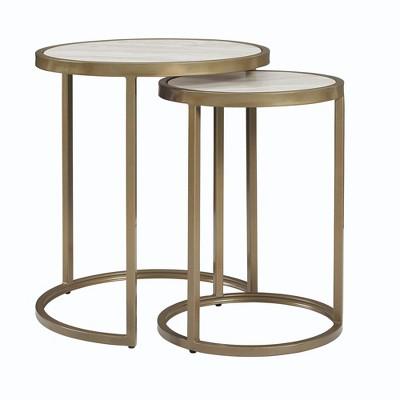 Eos Nesting Tables Brass - Dorel Living