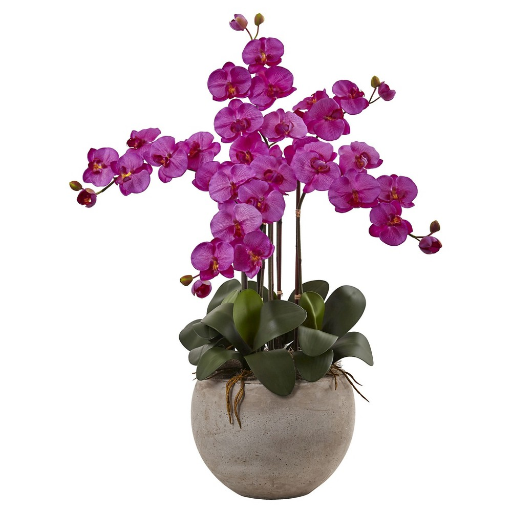 Image of Phalaenopsis Orchid Silk Arrangement with Sand Colored Bowl - Nearly Natural, Orchid Bloom