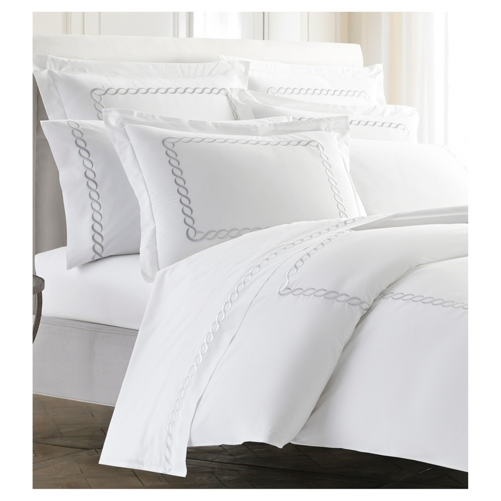 Silver Embroidered Scroll Border Catena Duvet Cover (Full/Queen) Silver - Kassatex