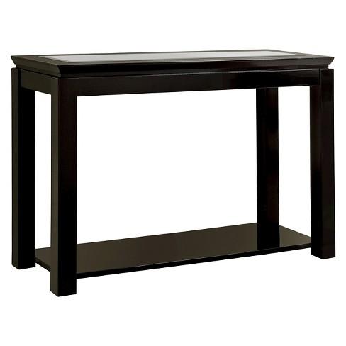 Mibasics Tellma High Gloss Gl Top Sofa Table Black