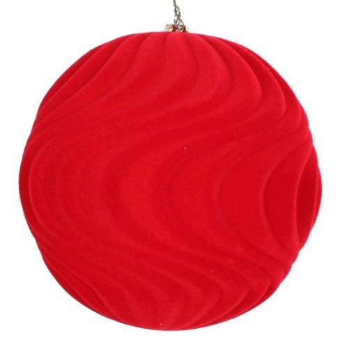 Vickerman 6 Red Flocked Wave Ball Ornament 2 Per Bag Target
