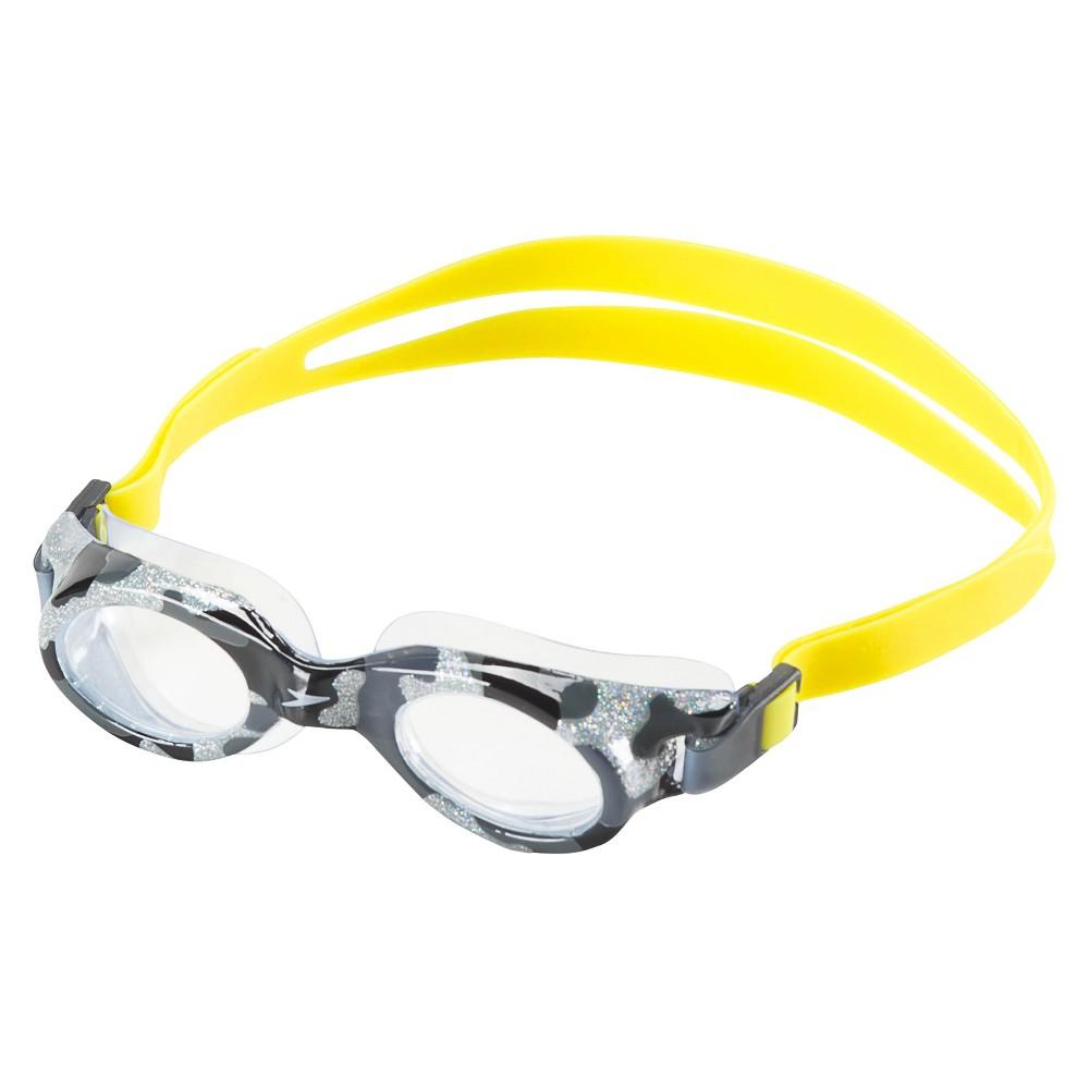 Speedo Jr Glide Print Goggle - Gray, Gray/Yellow