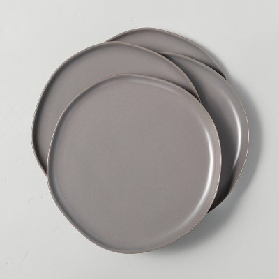 4pk Stoneware Dinner Plate Set Matte Gray - Hearth & Hand™ with Magnolia