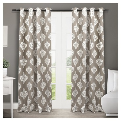 Set of 2 / Pair Medallion Blackout Thermal Grommet Top Window Curtain Panels Taupe (52 x84 )Exclusive Home