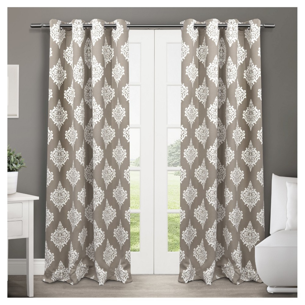 Medallion Blackout Thermal Grommet Top Window Curtain Panel Pair Taupe (Brown) 52x63 - Exclusive Home