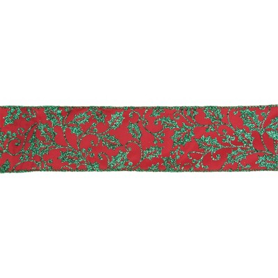 "Northlight Sparkly Red and Green Holly Christmas Wired Craft Ribbon 2.5"" x 16 Yards"