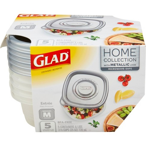 Glad Home Collection Entre Food Storage Containers - 25oz - 5ct - image 1 of 4