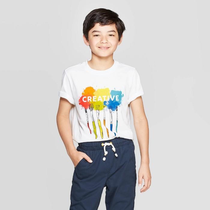 Boys' Short Sleeve Graphic T-Shirt - Cat & Jack™ White - image 1 of 3