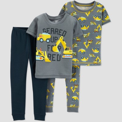Toddlers Boys' 4pc Construction South Pajama Set - Just One You® made by carter's Yellow 3T