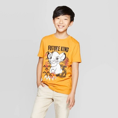 Boys' The Lion King Simba Future King Short Sleeve T-Shirt - Yellow XS