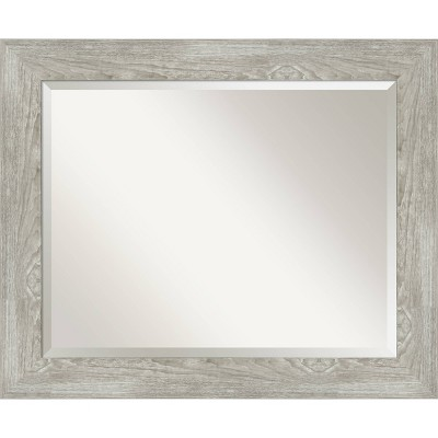 "34"" x 28"" Dove Graywash Framed Bathroom Vanity Wall Mirror - Amanti Art"