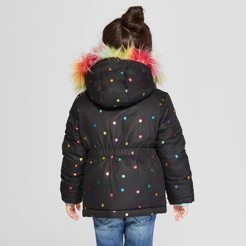 1c6dde4c7518 Toddler Girls  Rainbow Foil Parka - Cat   Jack™ Black   Target