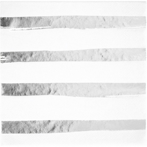 16ct Creative Converting White And Silver Foil Striped Napkins Target