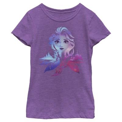 Girl's Frozen 2 Elsa Two Tone Gradient Portrait T-Shirt
