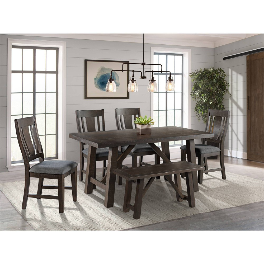 6pc Carter Dining Set Graphite Gray - Picket House Furnishings