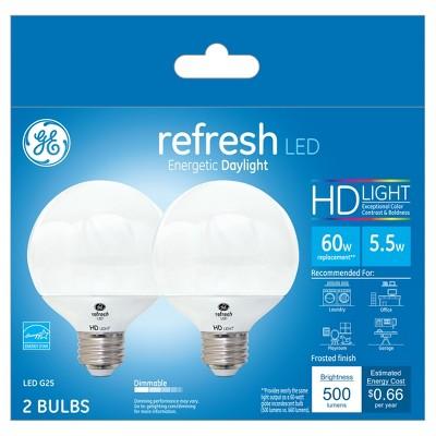 General Electric 2pk 60W Refresh Daylight Equivalent Globe G25 Frost LED Light Bulb HD