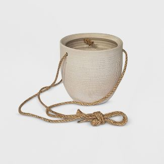 6u0022 Textured Ceramic Hanging Planter White - Project 62™